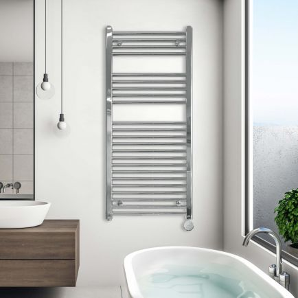 Ecostrad Fina-E Blue Smart Electric Towel Rail - Chrome