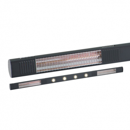 Burda Term 2000 IP65 Infrared Patio Heater & Lighting - Black 4kW
