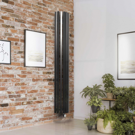 Terma Triga E AW Vertical Designer Electric Radiators - Curved Anthracite