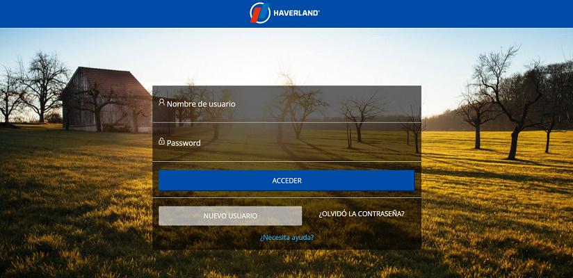 Haverland App Login Screen