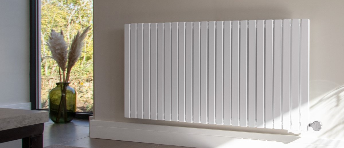 Ecostrad Adesso white electric radiator on wall