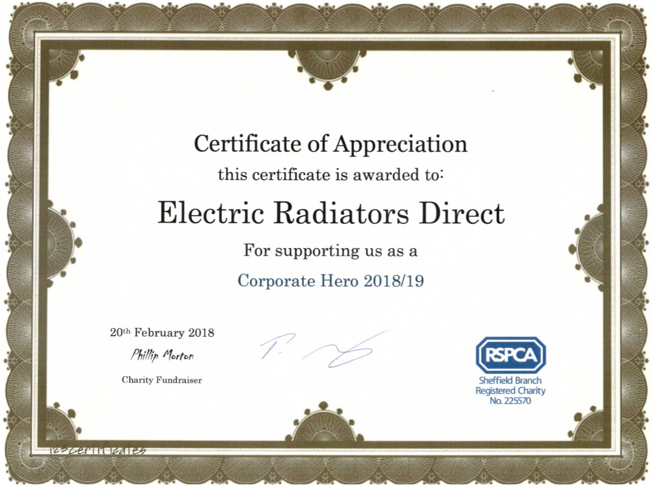 Our Certificate of Appreciation from the RSPCA