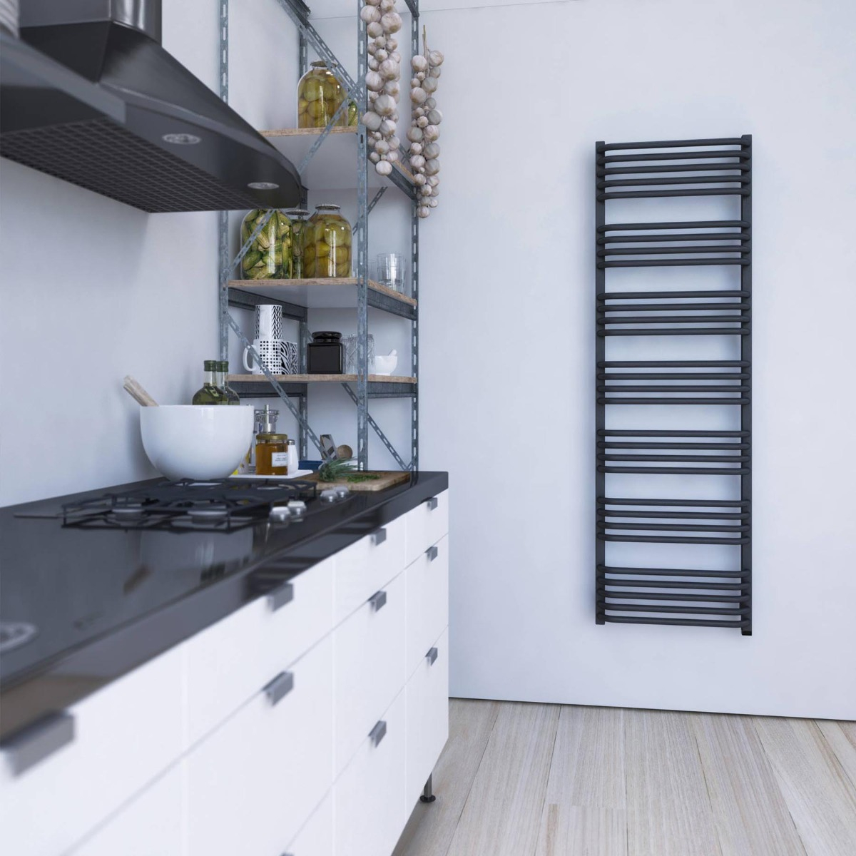 Towel rail in kitchen