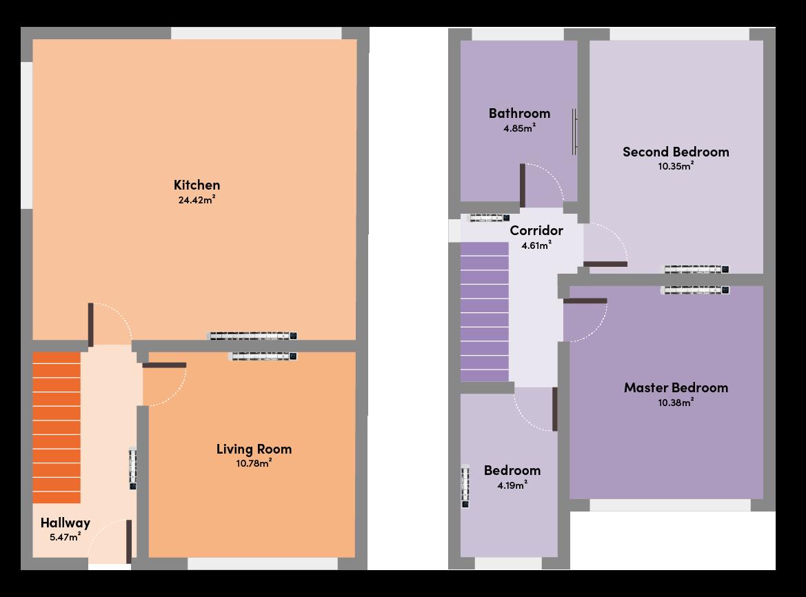 Floorplan of semi-detached house with electric radiators