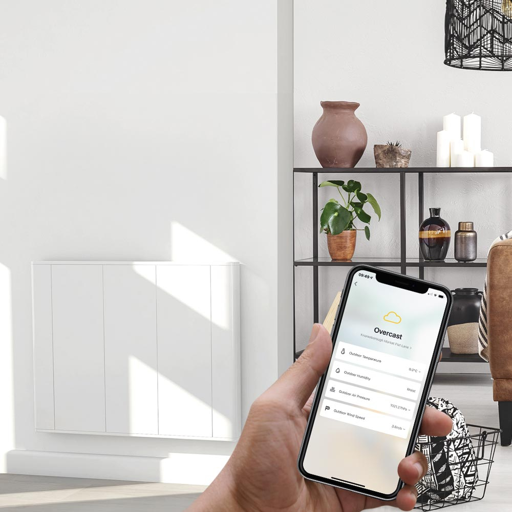 Ecostrad iQ Plus panel heater on wall