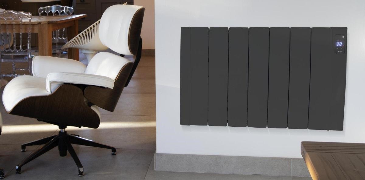 Designer electric radiator on wall
