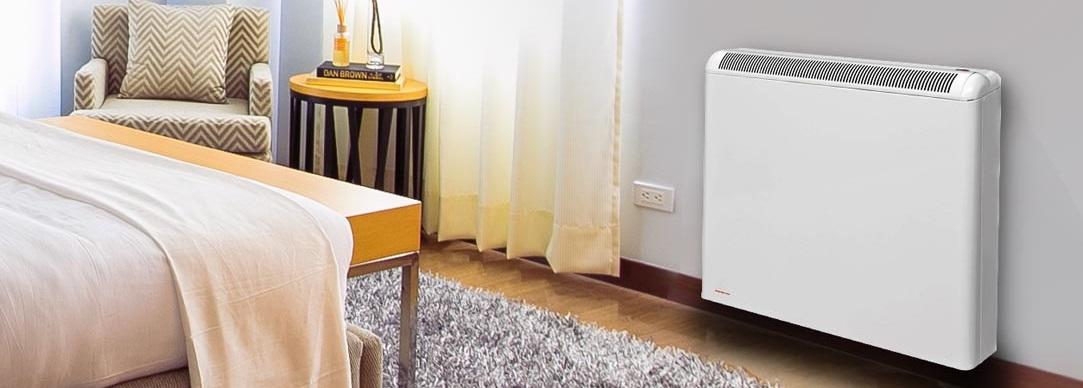 Storage heater in bedroom